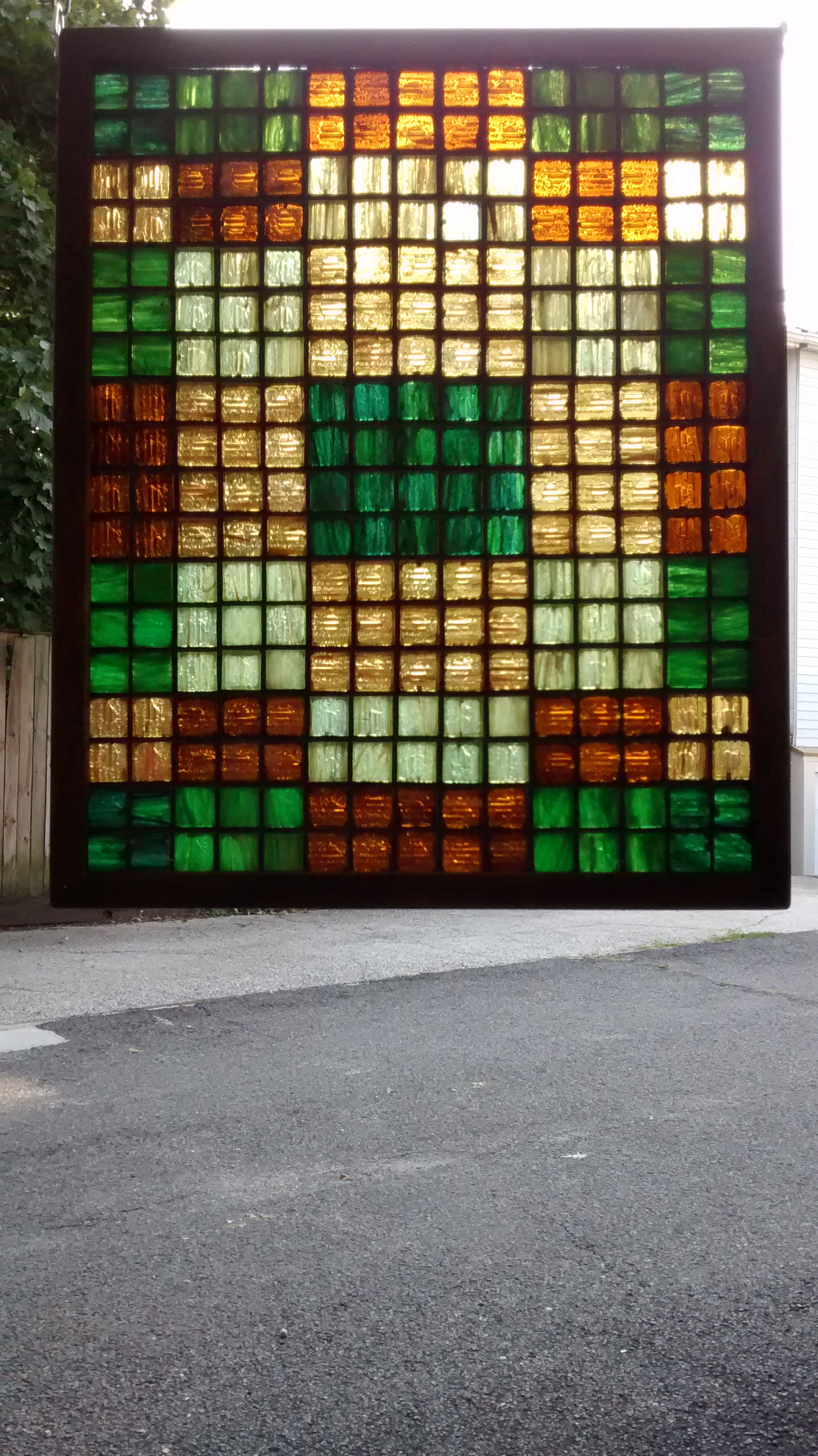 "Colored Glass Tile Mosaic ""Quilt"" #6"