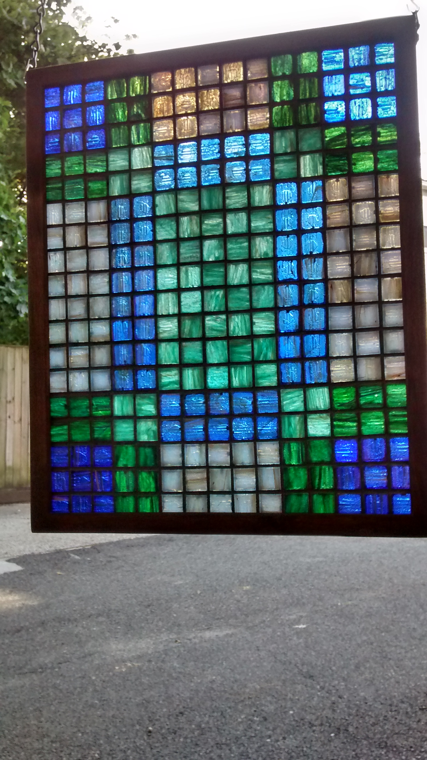 "Colored Glass Tile Mosaic ""Quilt"" #7"