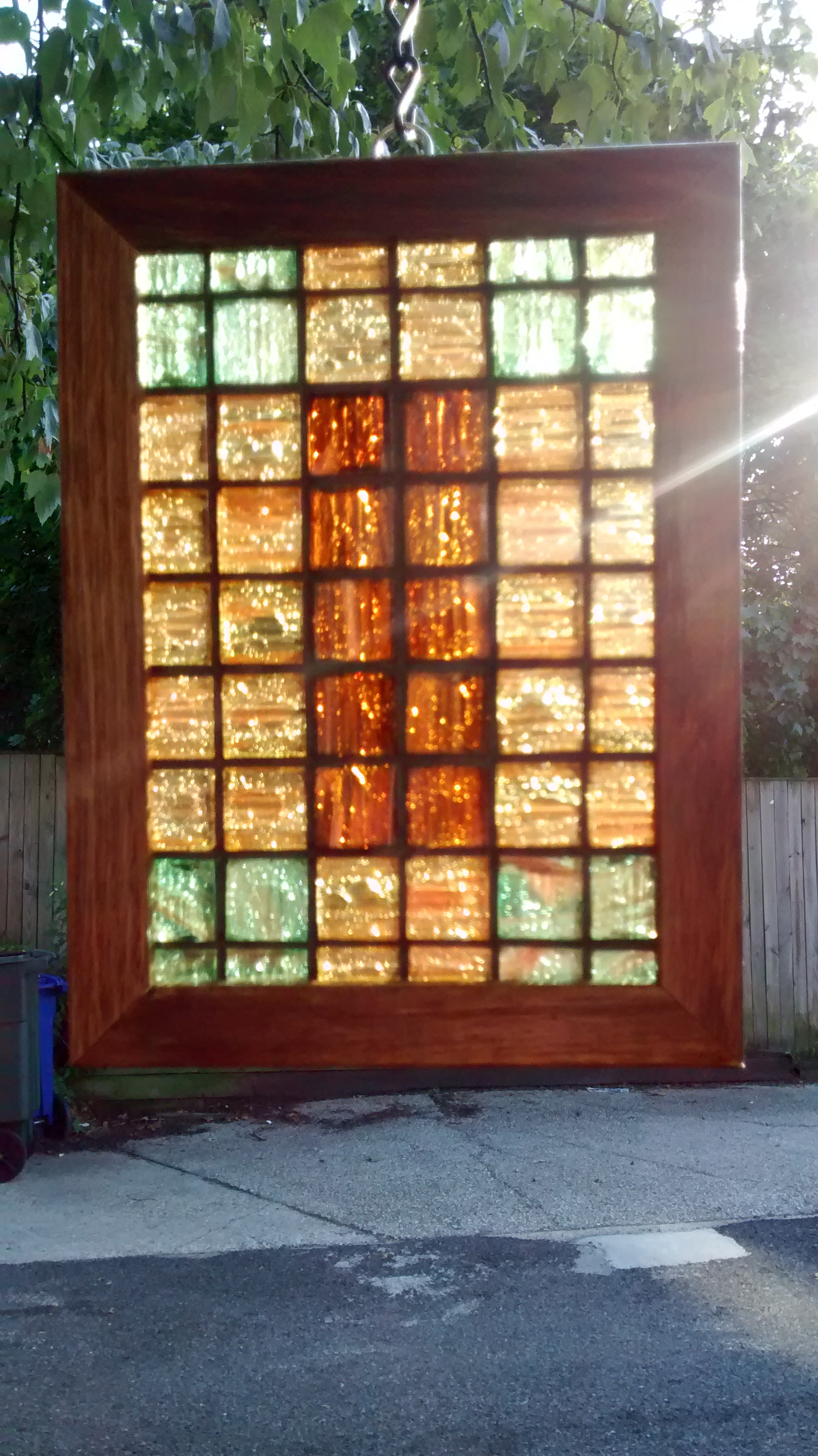 "Colored Glass Tile Mosaic ""Quilt"" #10"