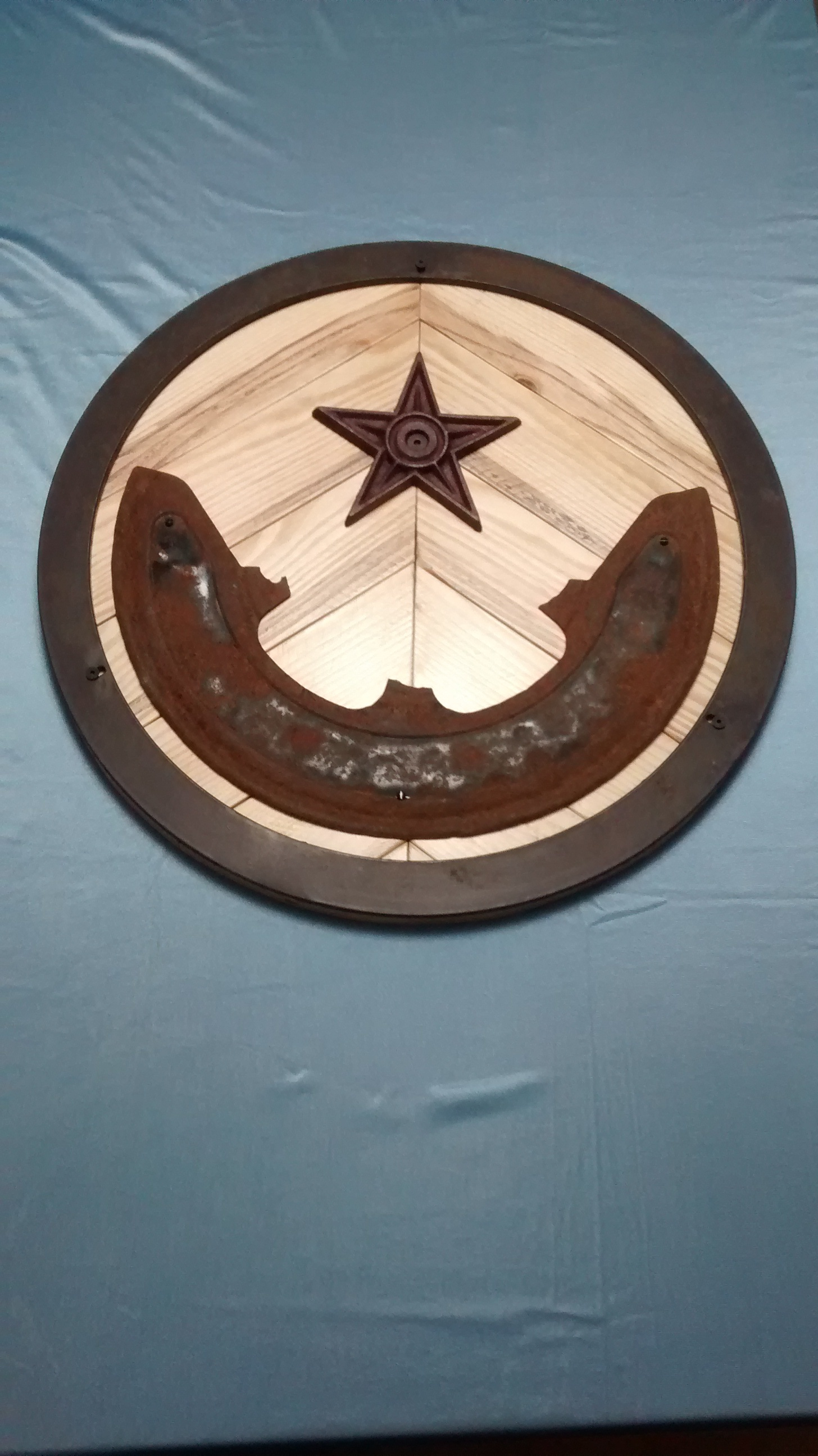 Found Metal and Reclaimed Wood Circular Wall Art #1