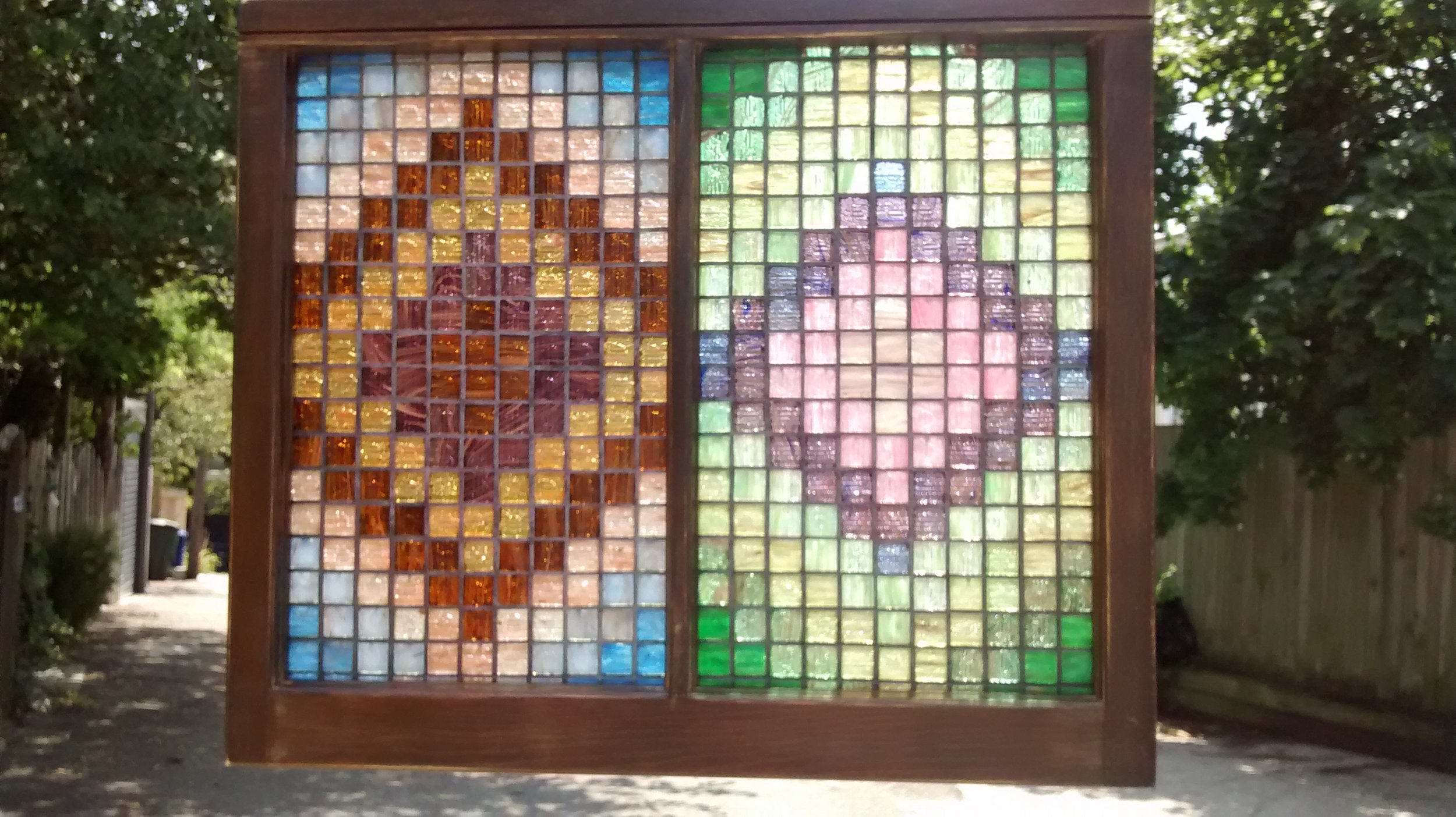 Two-Panel Colored Glass Tile Mosaic Quilt Seasons