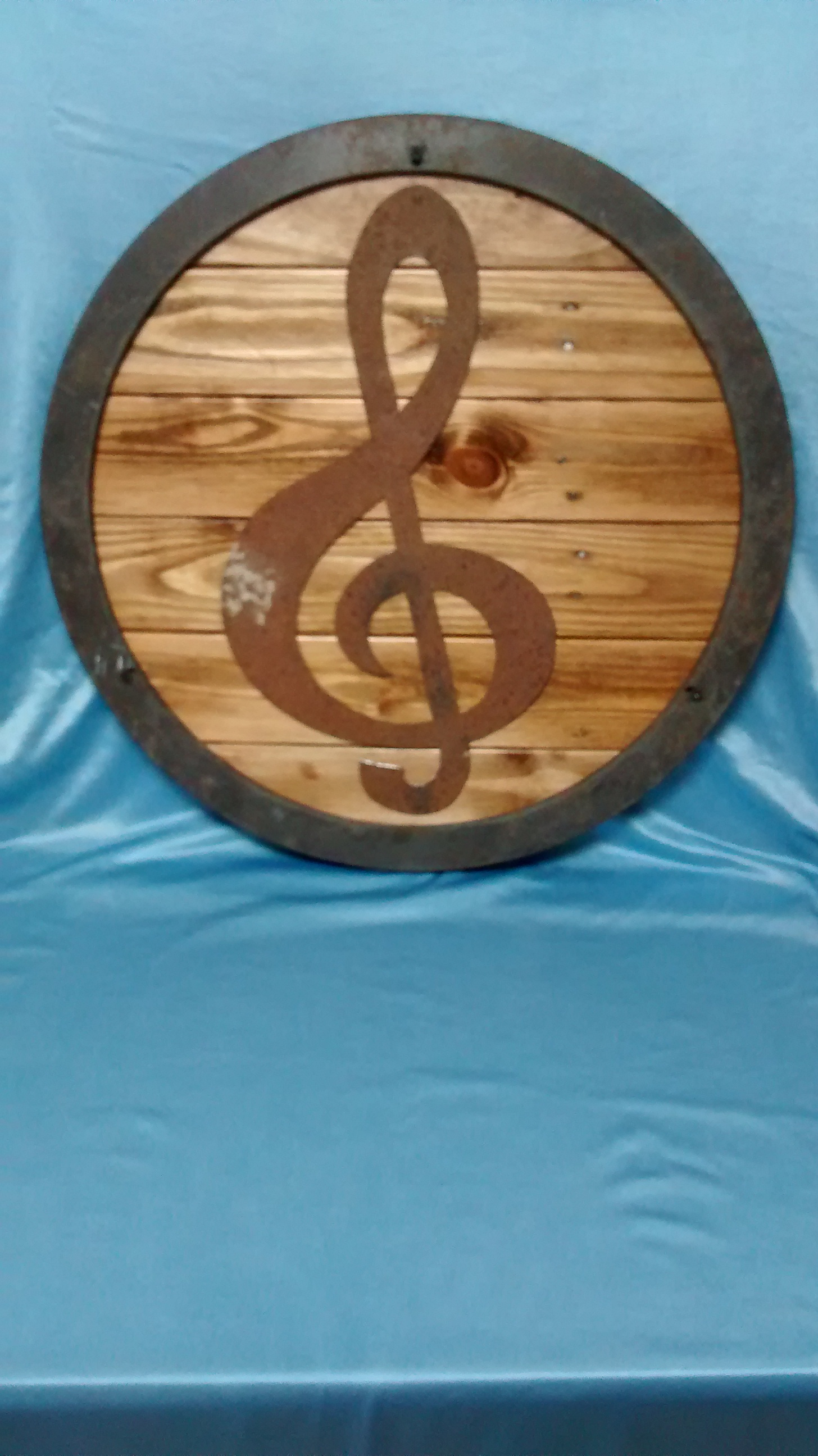 Found Metal and Reclaimed Wood Circular Wall Art #3
