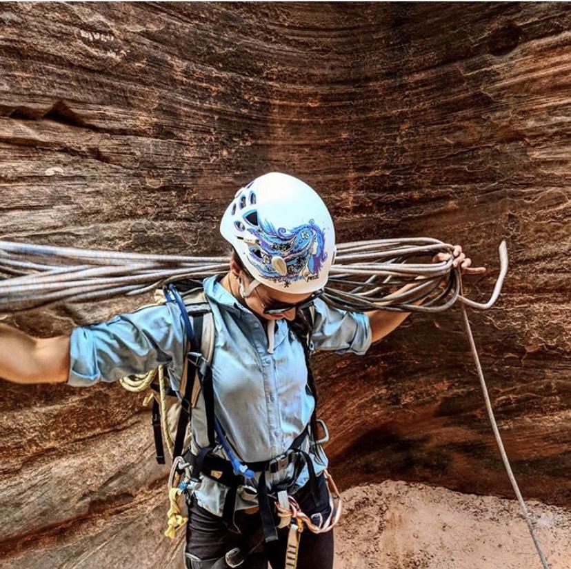 Celie managing rope post rappel