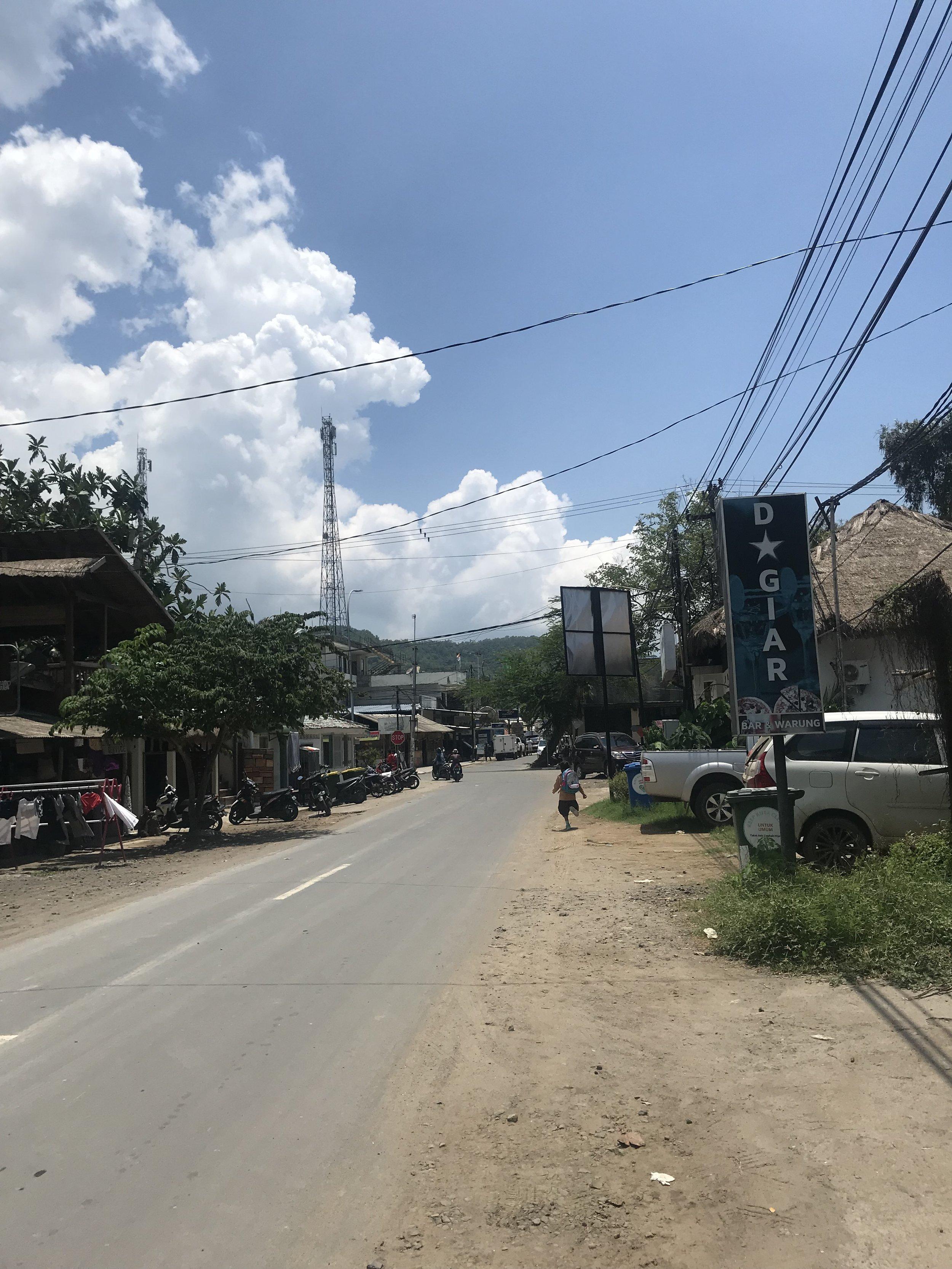 One of the main roads in Kuta
