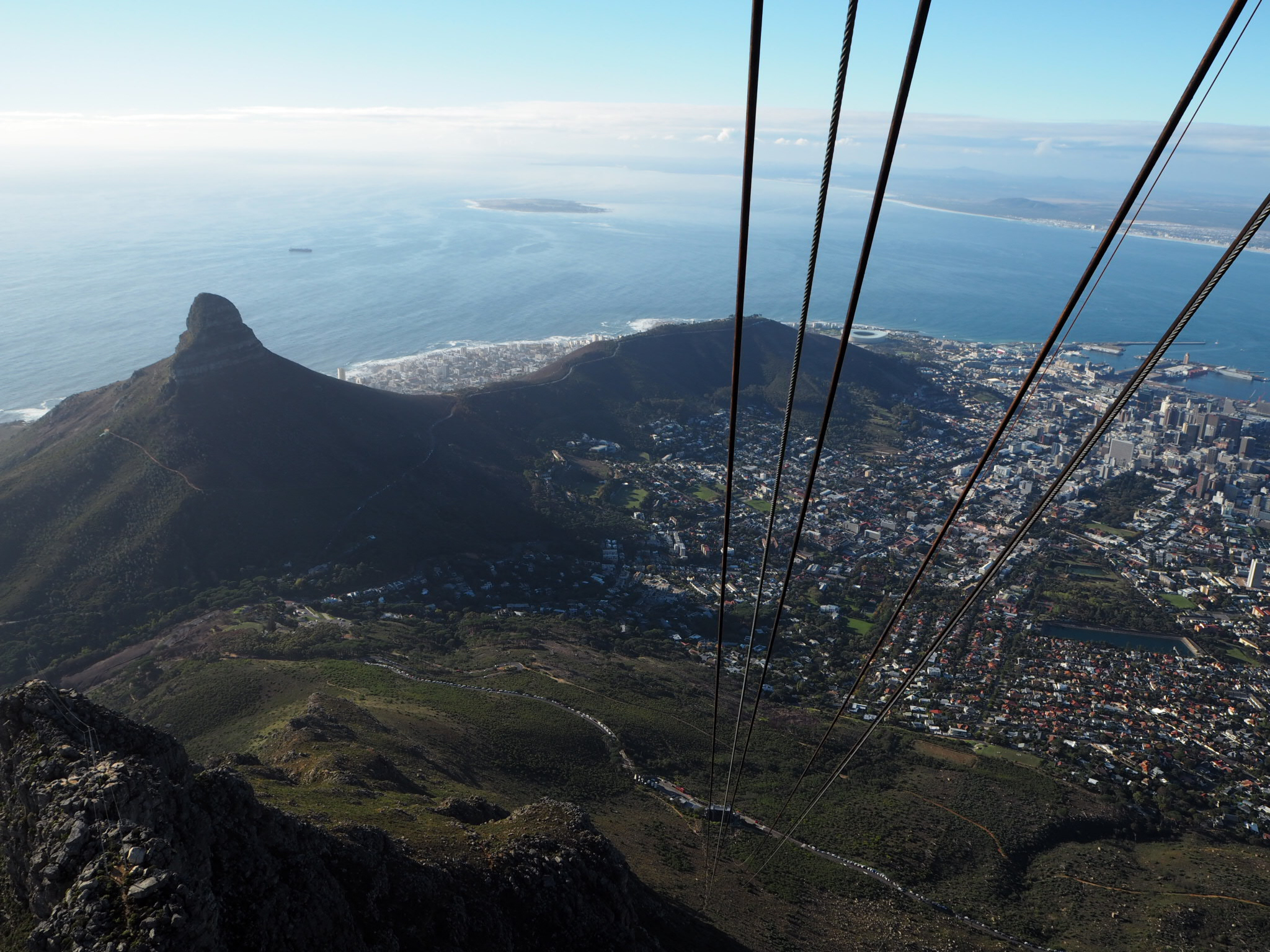 Views of Lion's Head and the Central Business District of Cape Town from the cable car.