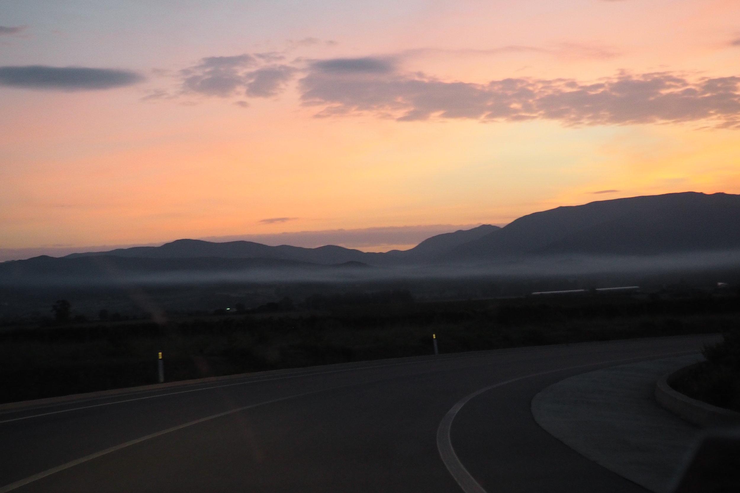 Sunrise on the way to Cagliari