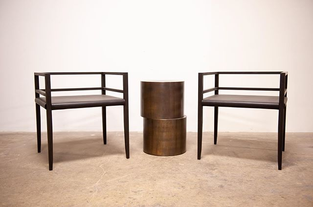 Cale Dining chairs in oxidized oak and black bridle leather and our Offset side table in antiqued brass, debuting tomorrow at @icff_official !  Stop by booth 225 and have a seat.  #icff2019 #ICFFNYC2019 #icff