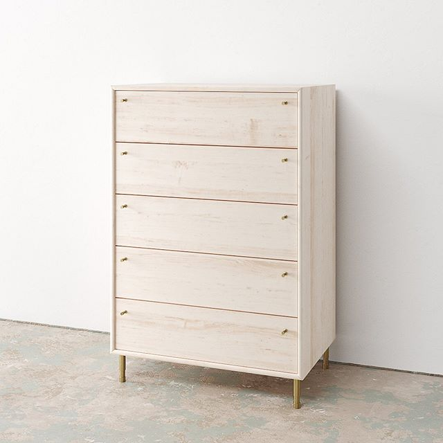 Tall version of our Lauren Dresser in white washed ash with recycled brass pulls and leveling feet. 😎  #icff #icff2019 #icffnyc2019 #olivrstudio