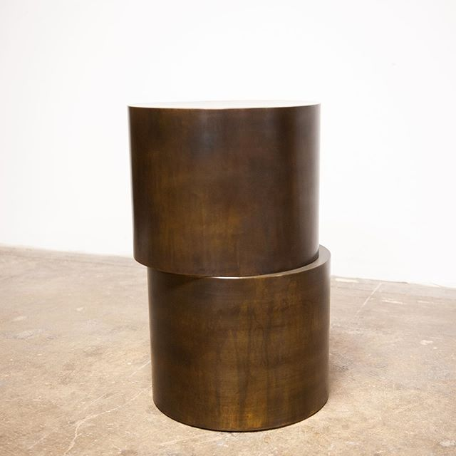 Hand rolled, welded, ground, sanded, patinaed and sealed brass.  Offset side table shown in antiqued brass, available in a range of finishes and custom sizes.  #olivrstudio #handmadefurniture #sidetable #interiordesign #interiorstyling