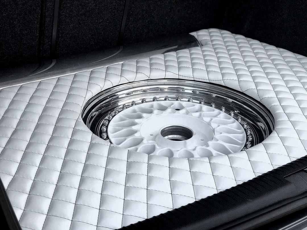 GTI Custom Trunk. White leather with diamond stitching.