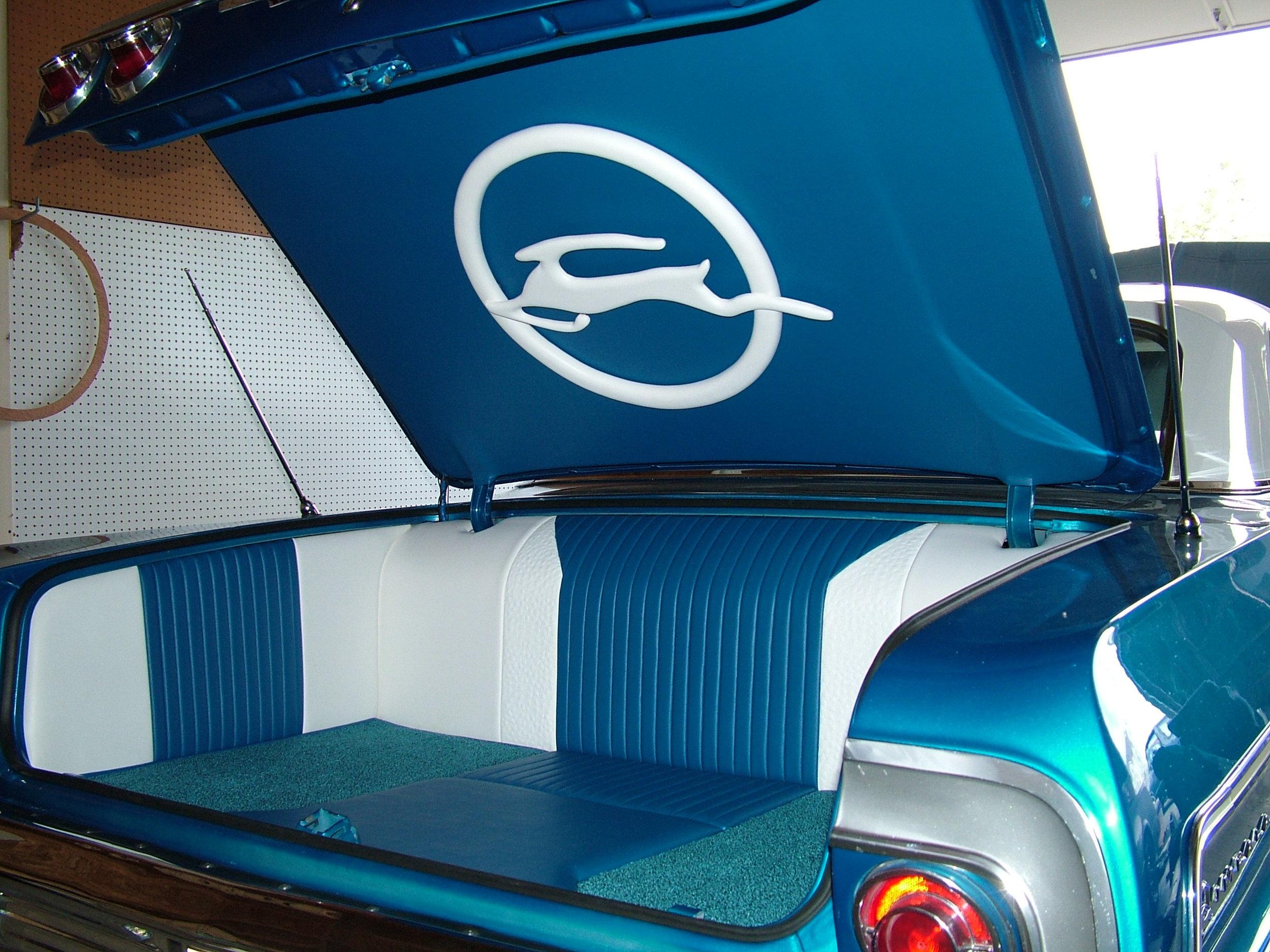 Impala - Custom Trunk,  Blue and white stitched leather.