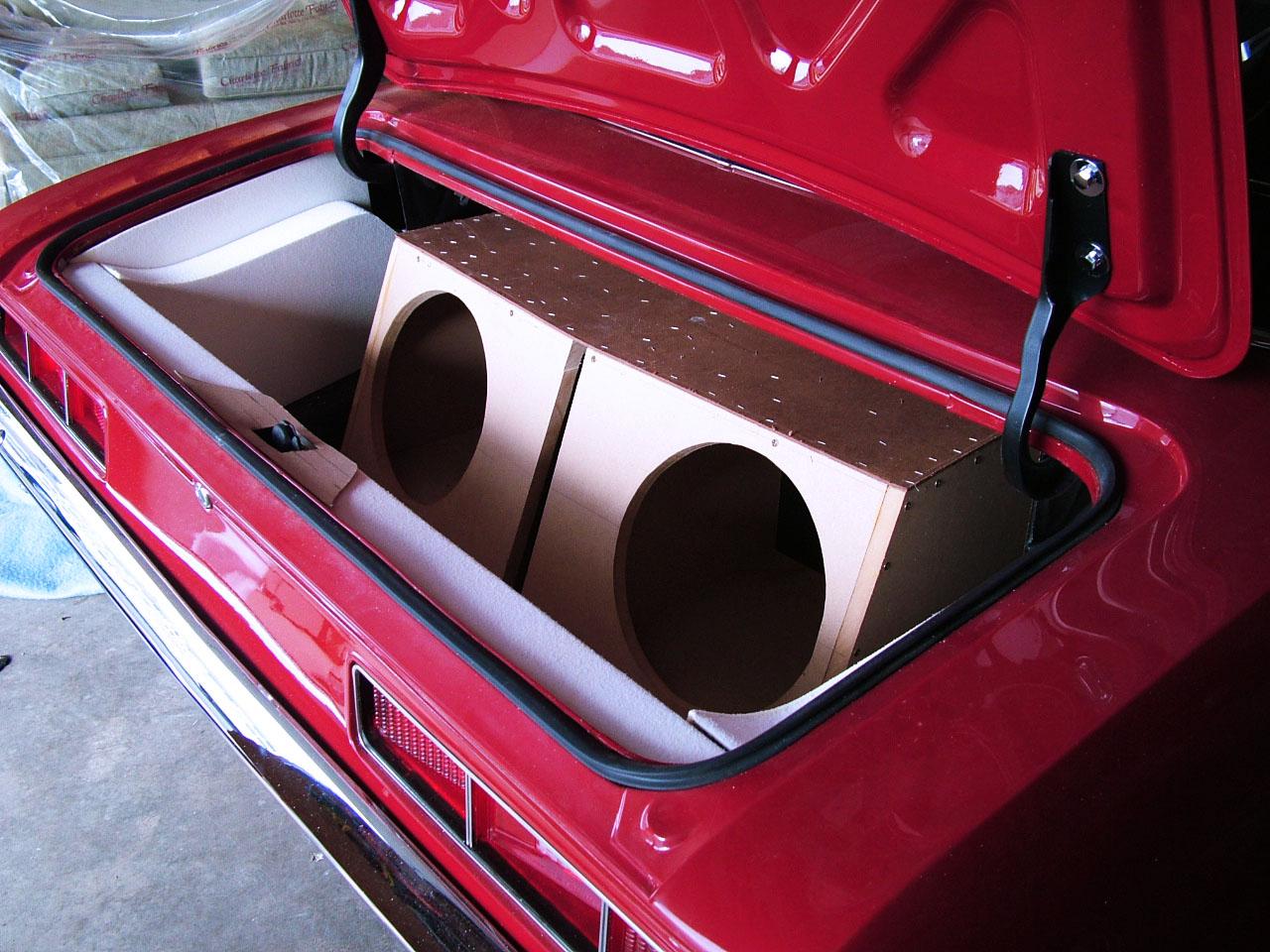 69 Camaro full custom trunk with custom built speaker boxes.
