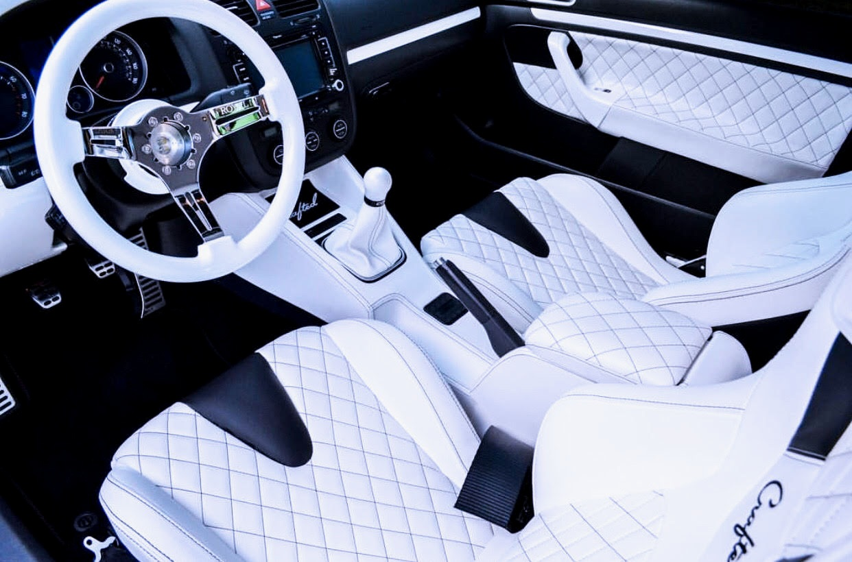 Award Winning -Full Custom GTI Interior White Leather Diamond Stitch.Jpeg