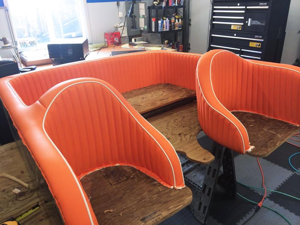 Custom Boat interior - Orange and white leather seats - after.