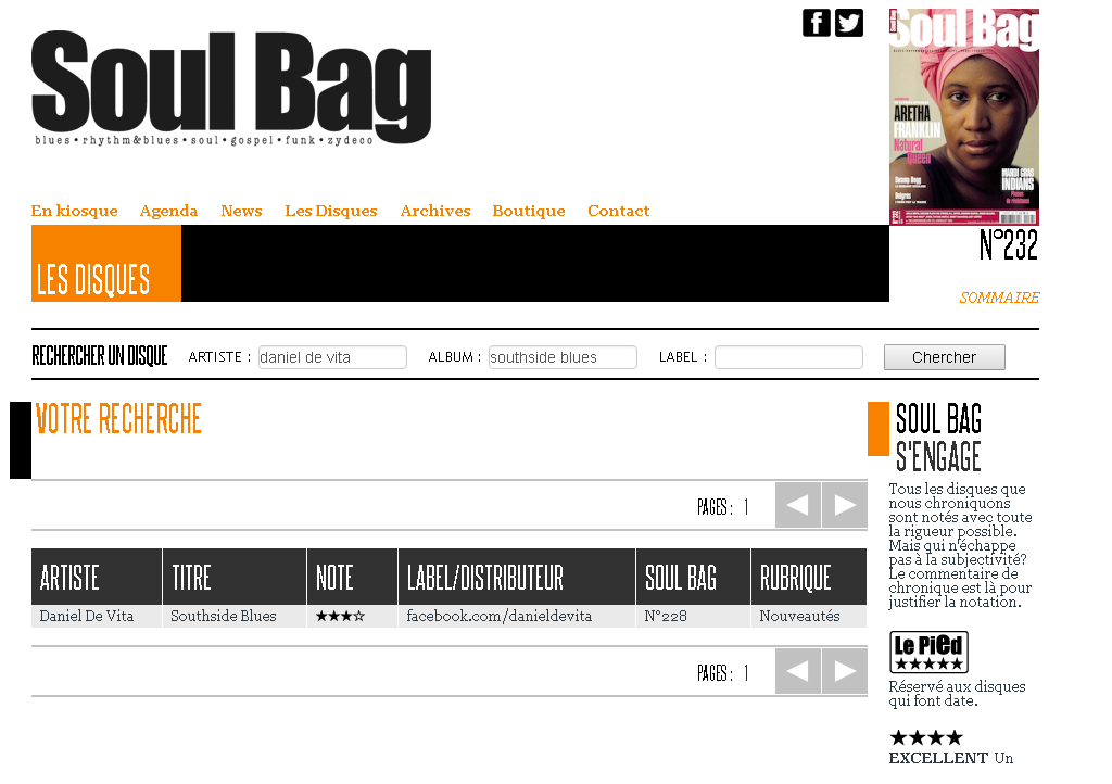 Soul Bag Magazine (FR) / Review of ¨Southside Blues¨