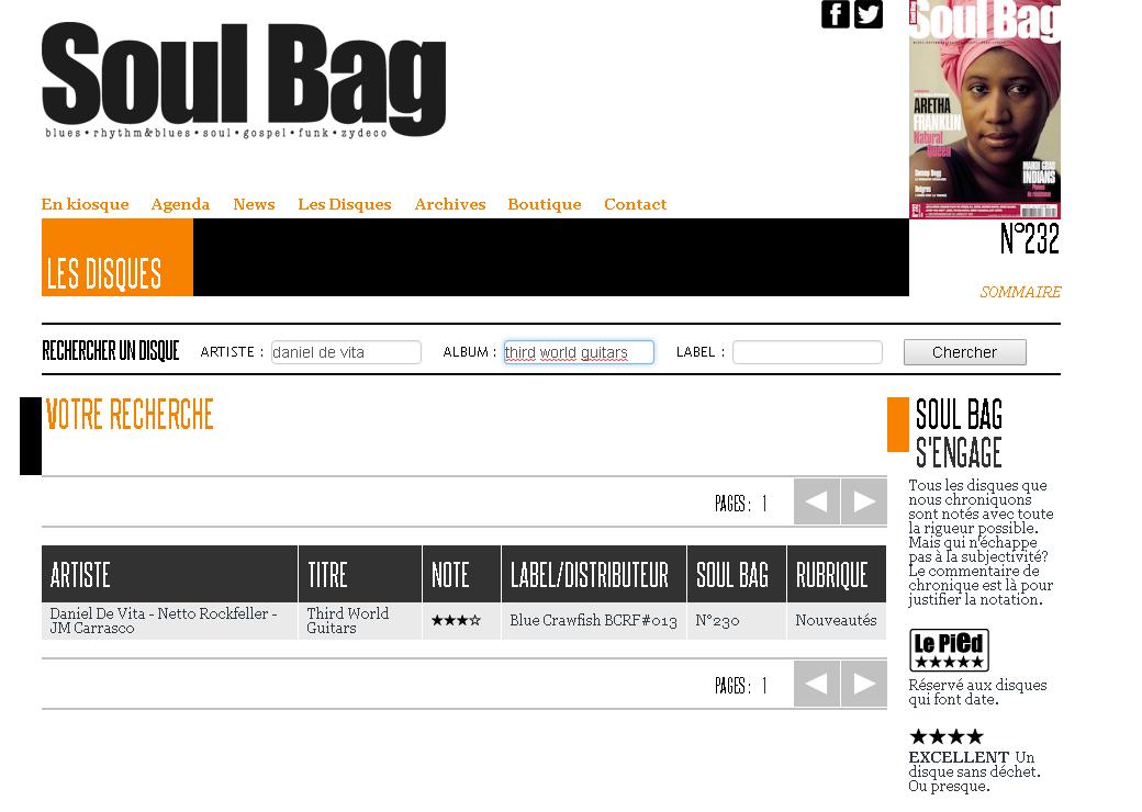 Soul Bag Magazine (FR) / Review of ¨Third World Guitars¨