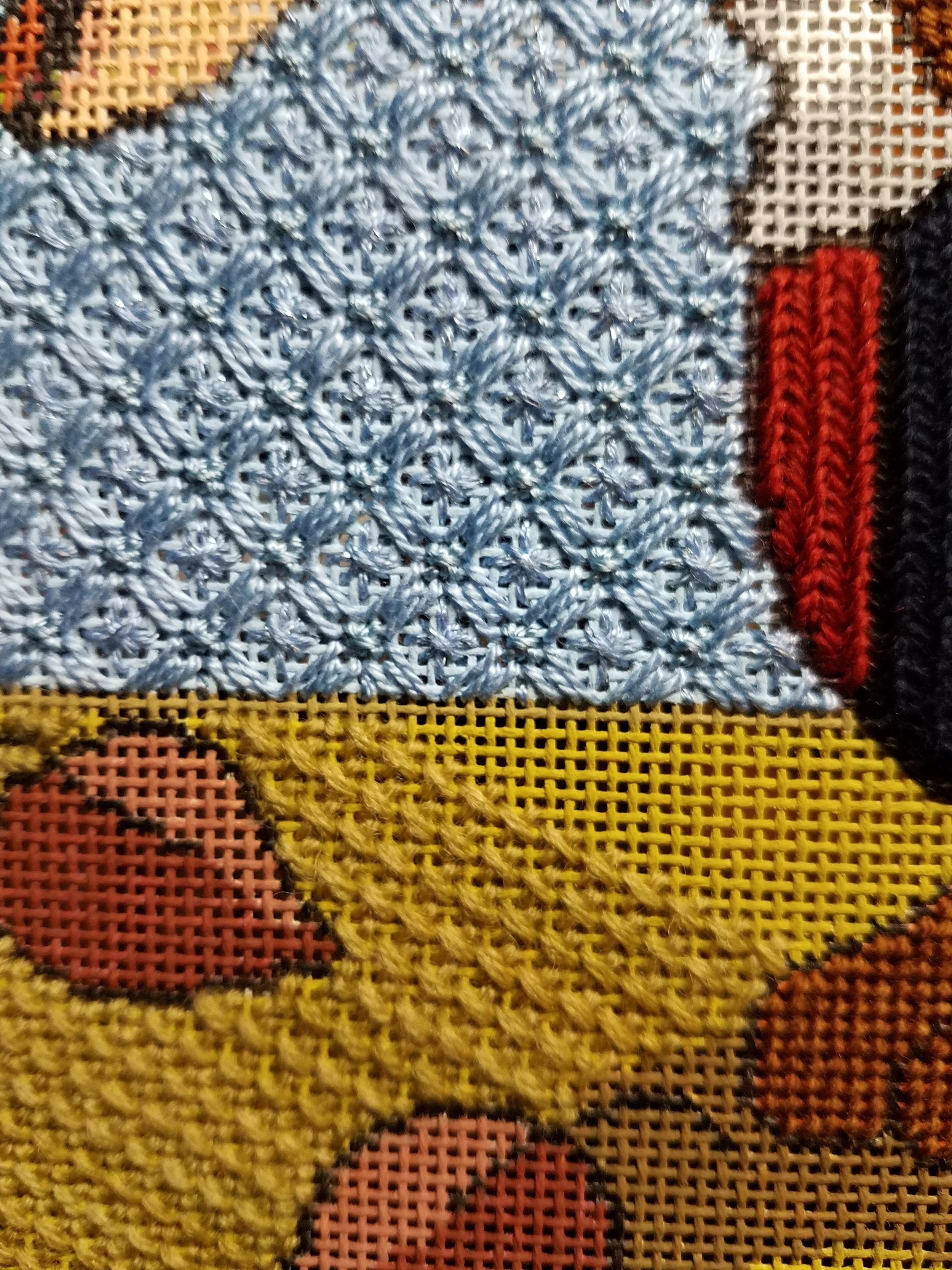Close up of backgrounds and sweater.