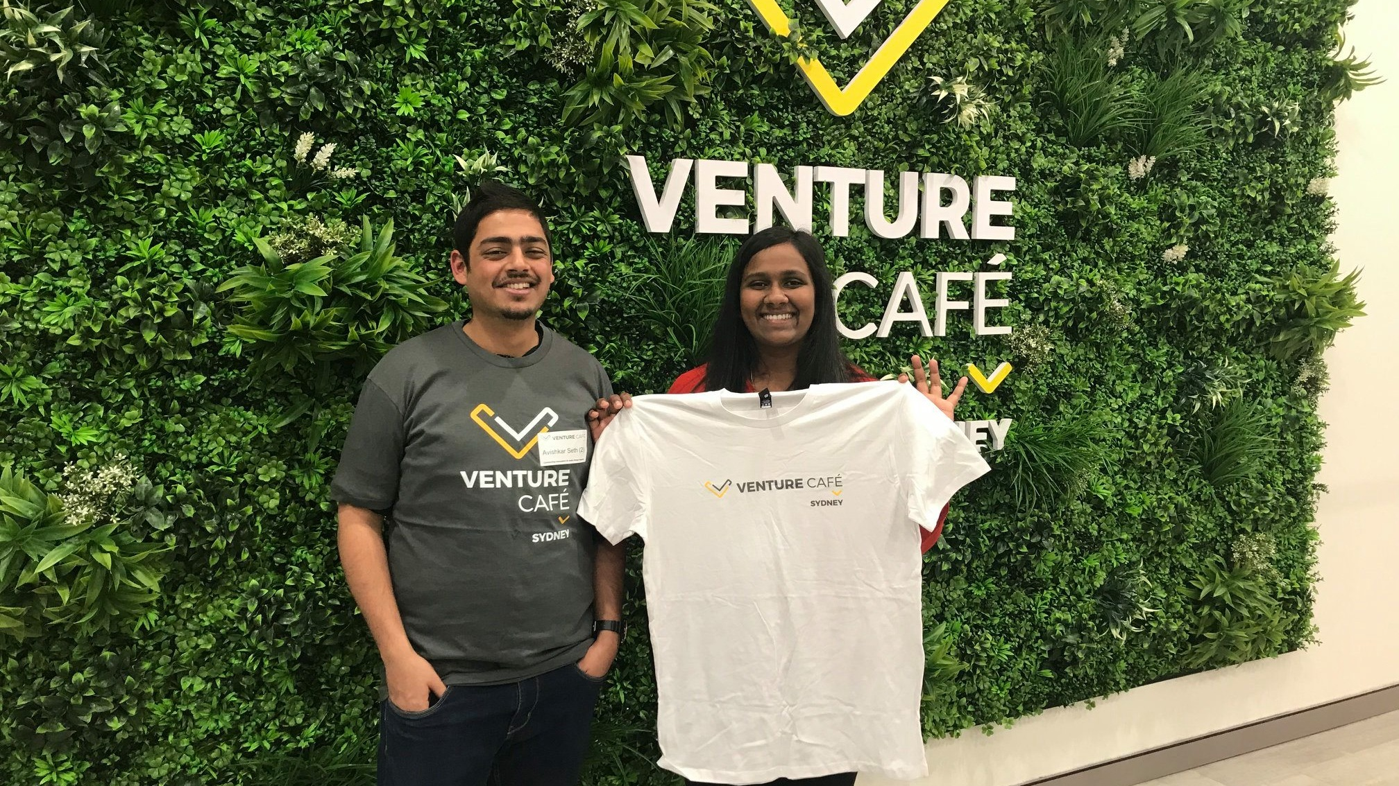 FREQUENTLY ASKED QUESTIONS - These are our awesome Ambassadors Avishkar and Alice with their new Venture Cafe swag!Ambassador attendance is on a 'when you can' basis. Just remember, you get out what you put in.