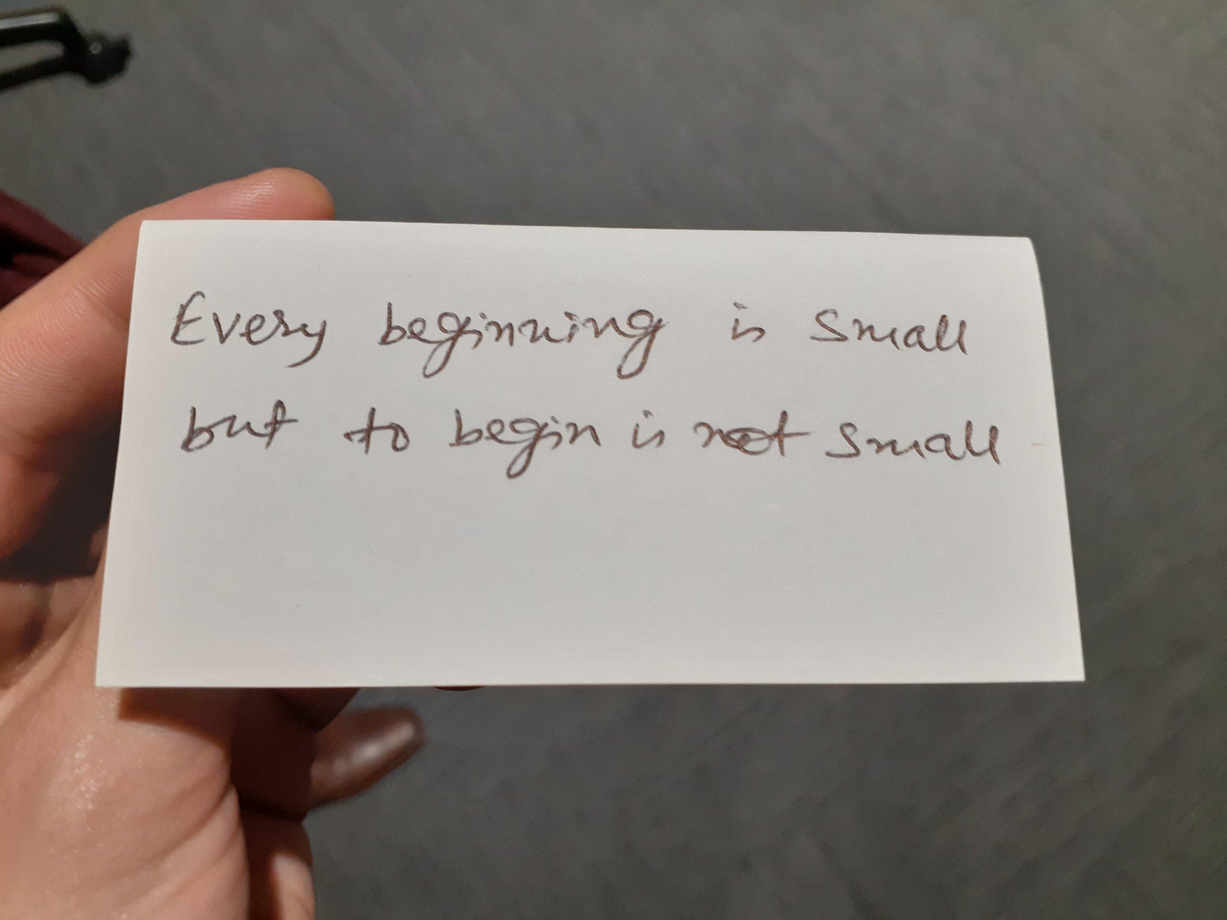 A hand written business card by a budding founder :)