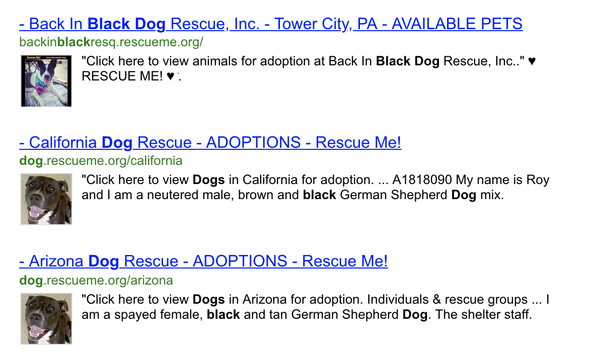 "Unclear Search Parameters - When a user searches for ""black dog,"" the first organic search result is ""Back in Black Dog Rescue."" There must be a better way!"