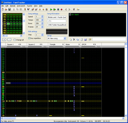 The typical layout of Famitracker (2A03 Tracker) without any add-ons…