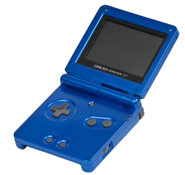 Cobalt Blue GameBoy Advance SP. I kept this one until 2010, when I decided to give it away to one of my cousins.