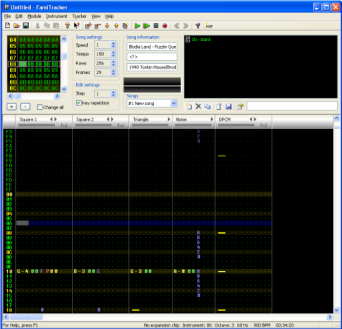 FamiTracker layout, with the internal 2A03 chip and no expansions.