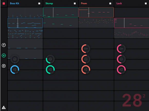 This image shows one of the later updates to the no-longer-existing Auxy Classic for iPad, featuring the option to save multiple songs. The very first version had a different interface, different instruments, and the option to save multiple songs didn't exist.  Image from the company's Twitter page.