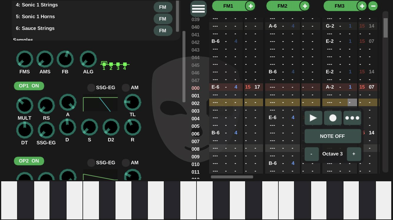 and with the instrument editor open.