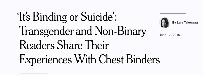 breast binding dangers, trans, nyt