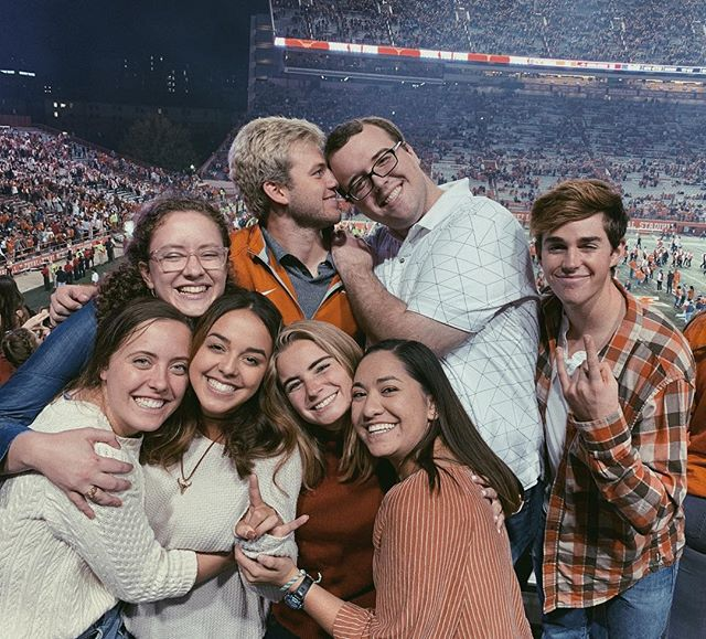 Definitely having to pinch myself to know that this dream is for real. Baby Bevo, my favorite people and fireworks !!! In one place ??? lucky to call myself a longhorn & to have this team by my side. HOOK EM. 🤘🏼✨💯 • • • • • • the gang's all here, ye ye.