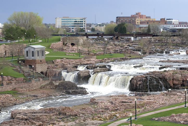 Waterfall that runs through Sioux Falls, South Dakota.