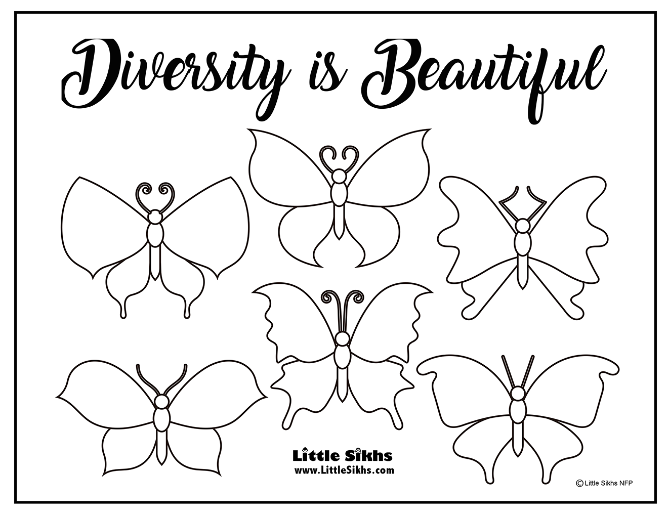 Diversity is Beautiful (Diversity Coloring Page)