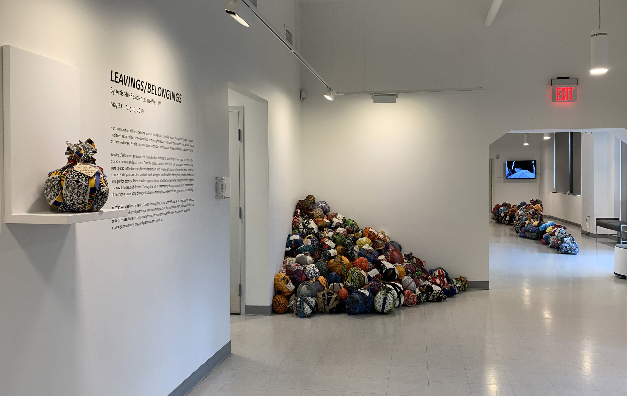 LEAVINGS/BELONGINGS (installation view at the Pao Arts Center, Boston MA)