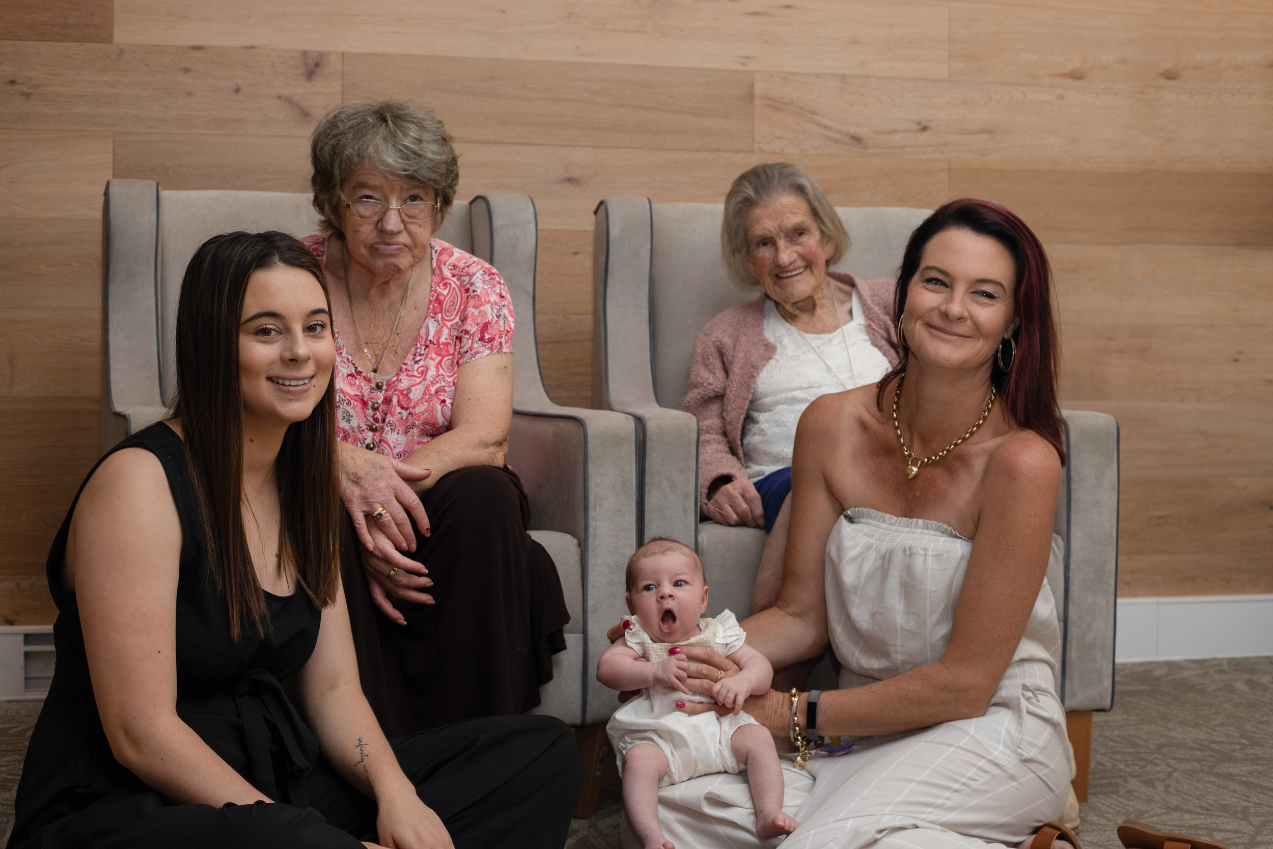4 strong determined women. The youngest has quite the legacy to live unto. 5 generations of first born girls. This was taken in a nursing home in Bowral.