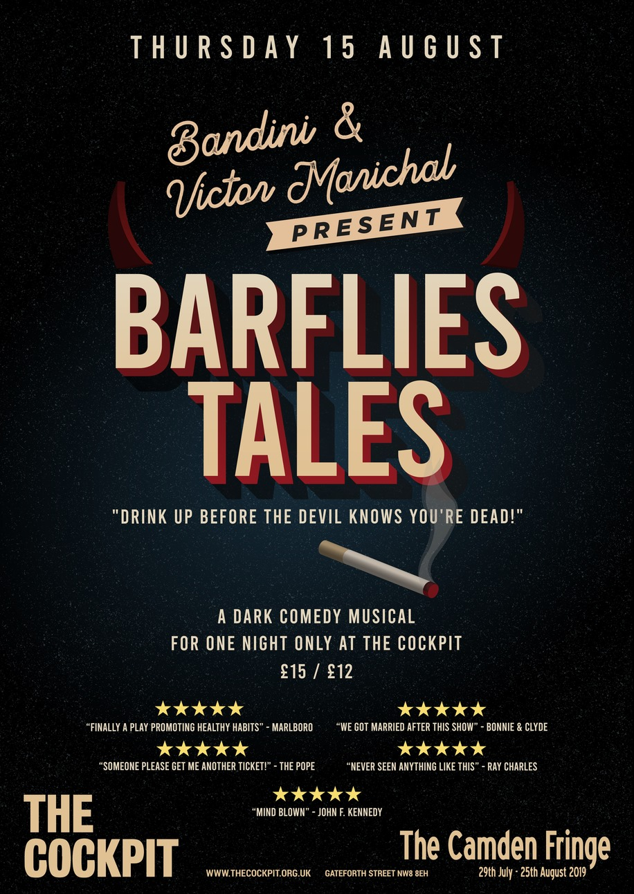 """A second love. - Besides music, Victor is also an actor and a playwright.In 2019, he co-authors the dark comedy musical """"Barflies Tales"""" with friend and fellow songwriter Bandini.Together they present a first prototype of the play with a SOLD-OUT night at the Half Moon (Putney) before scaling it up to a larger production.""""Barflies Tales"""" was then successfully introduced at The Cockpit Theatre on 15th August 2019 as part of the Camden Fringe Festival."""