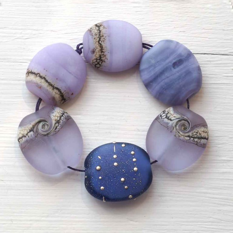blue lampwork bead set