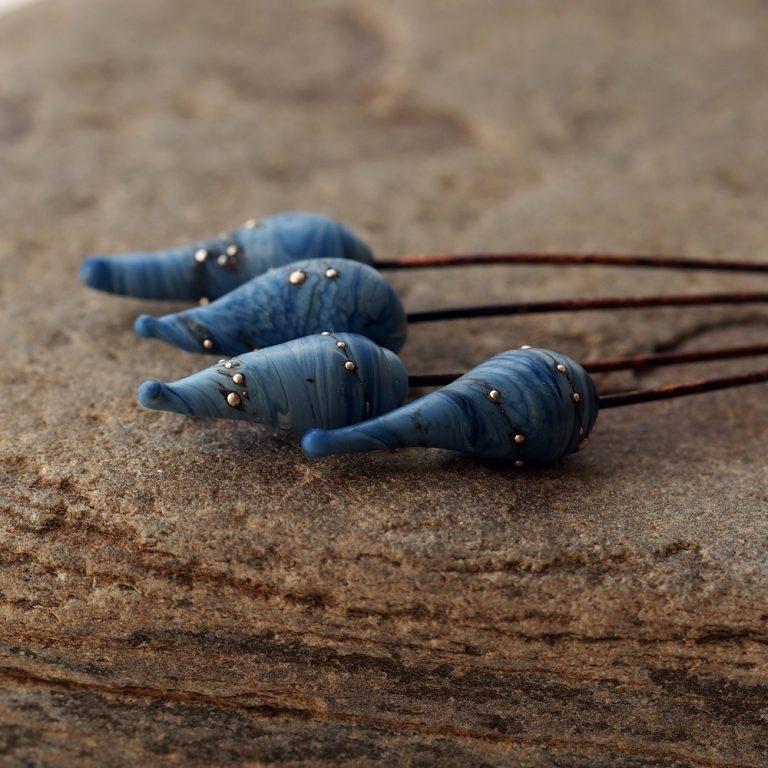 Blue lampwork Glass Headpins