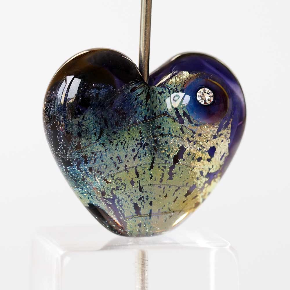 Purple lampwork glass heart, fumed with fine silver and cubic zirconia