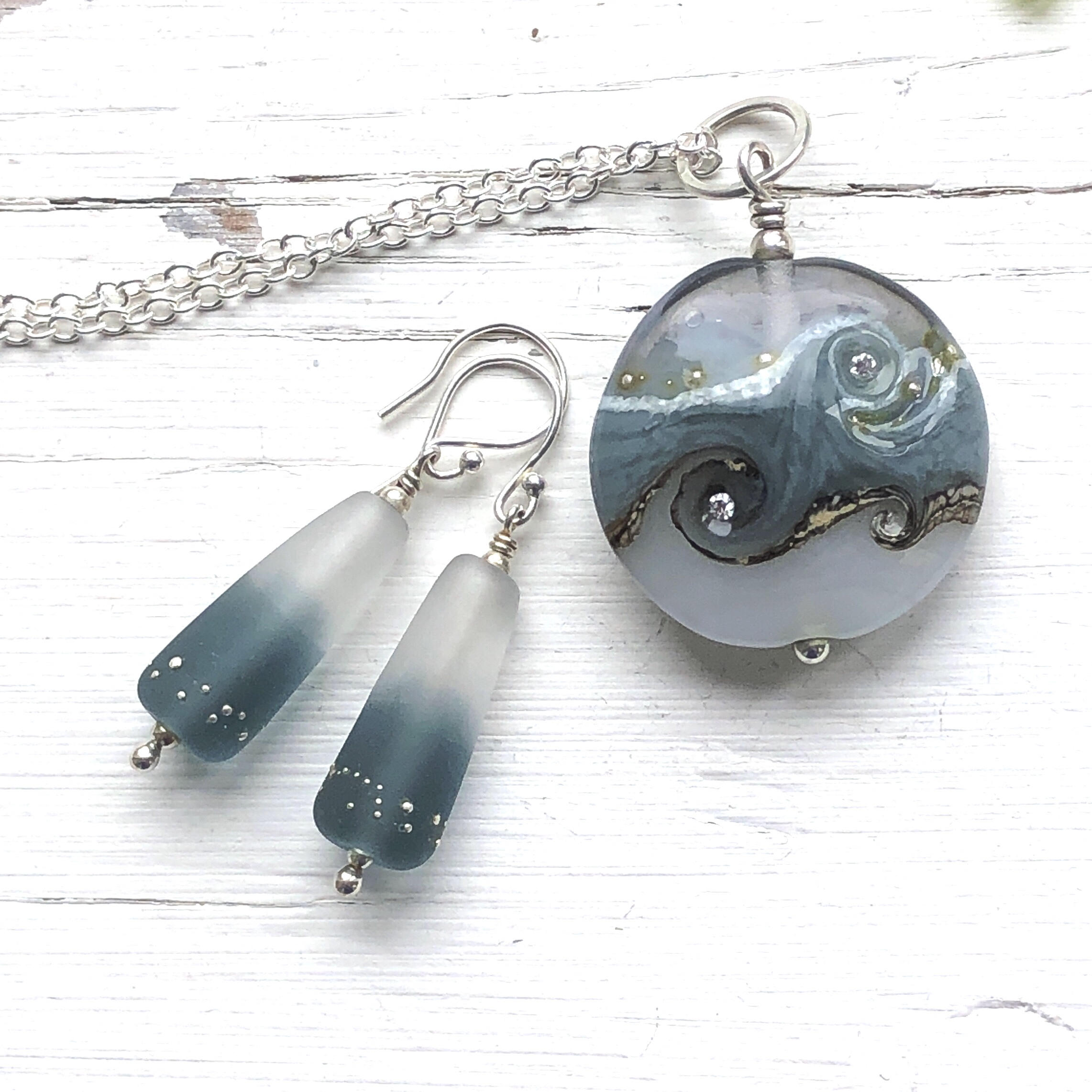 Grey Glass Duet Earrings and Circe Necklace