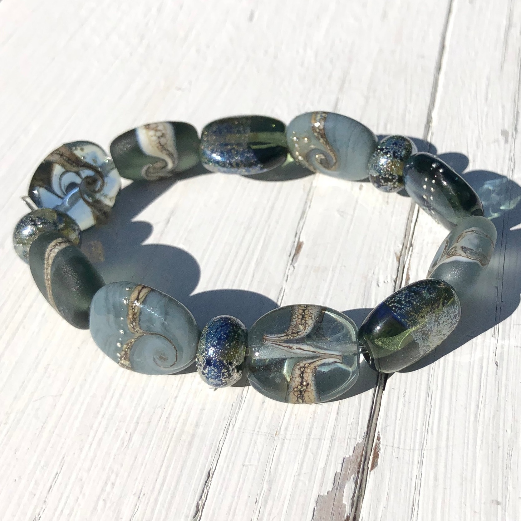 Grey stretchy bead bracelet