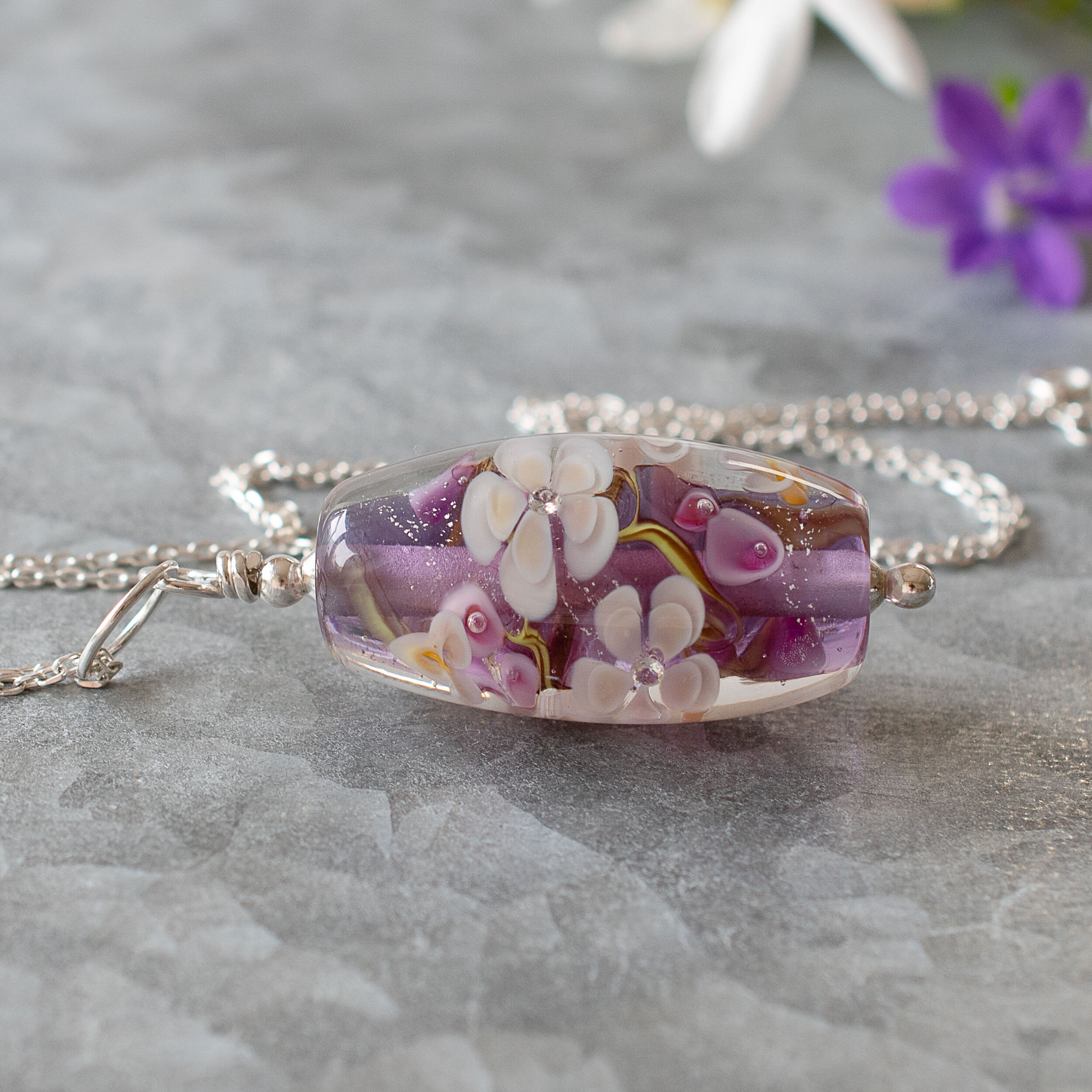 Amethyst, One of a kind, Floral Necklace