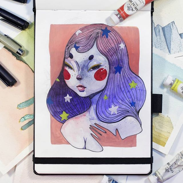 ✨tell me if you want me to redraw your art in the comments✨  One more #drawthisinyourstyle this time by @sophiemcpike  Had so much fun recreating this, I tried my best to translate the features and keep the design but I ended up making a few changes along the way (hope you don't mind) These have been so much fun to do! I need a break for now to work on a couple more things but I'll be back at it pretty soon I think. #drawthisinyourstylechallenge #watercolor #gouache #illustration #artistsupport #sophiemcpike #watercolorpainting