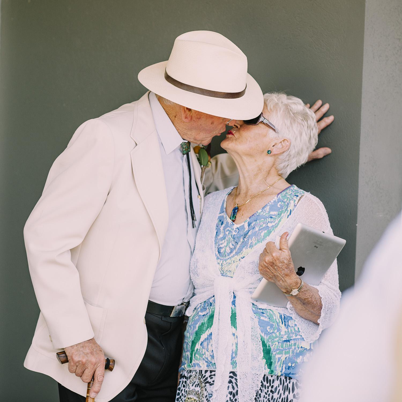 Kissing at wedding