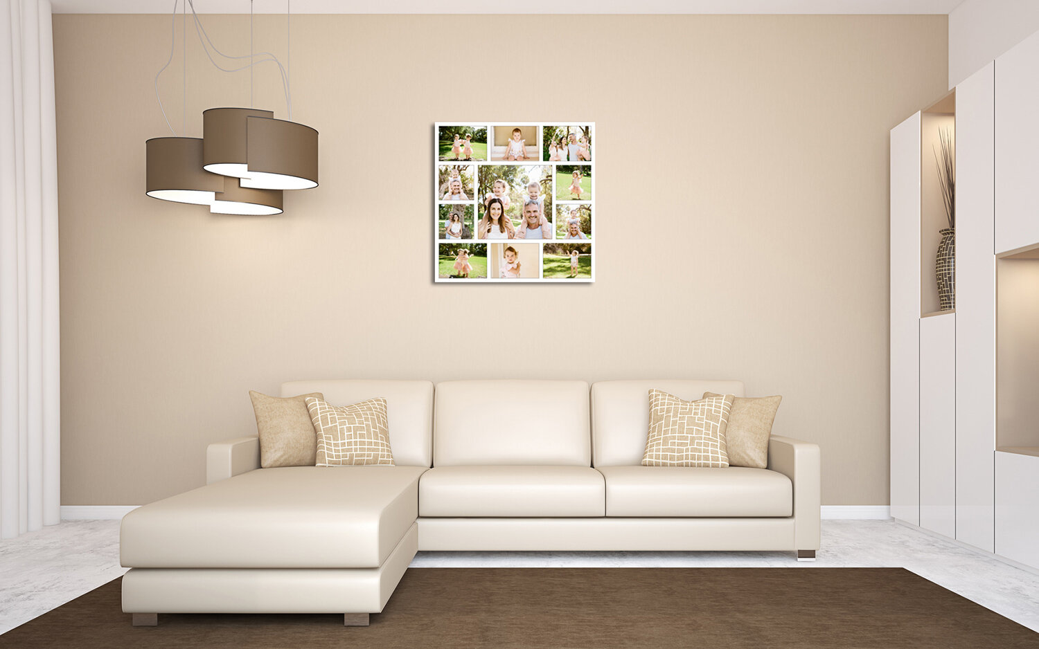 Family portaits displayed in a eleven photo collage in living room.jpg