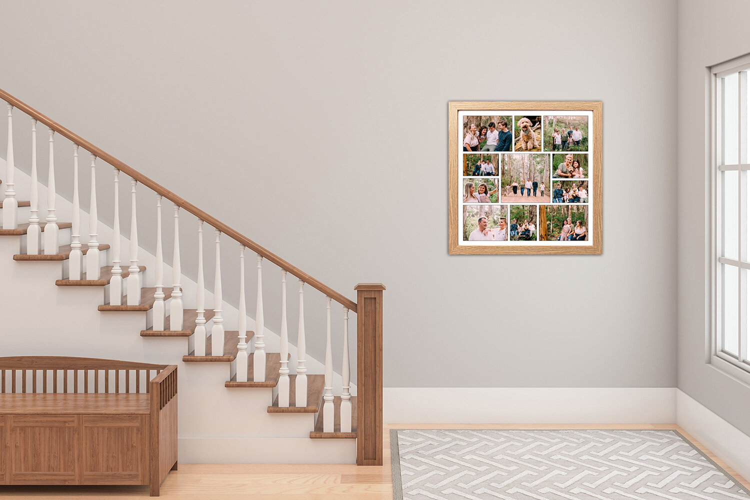 Staircase in house with beautiful photo collage displayed in light oak frame.jpg