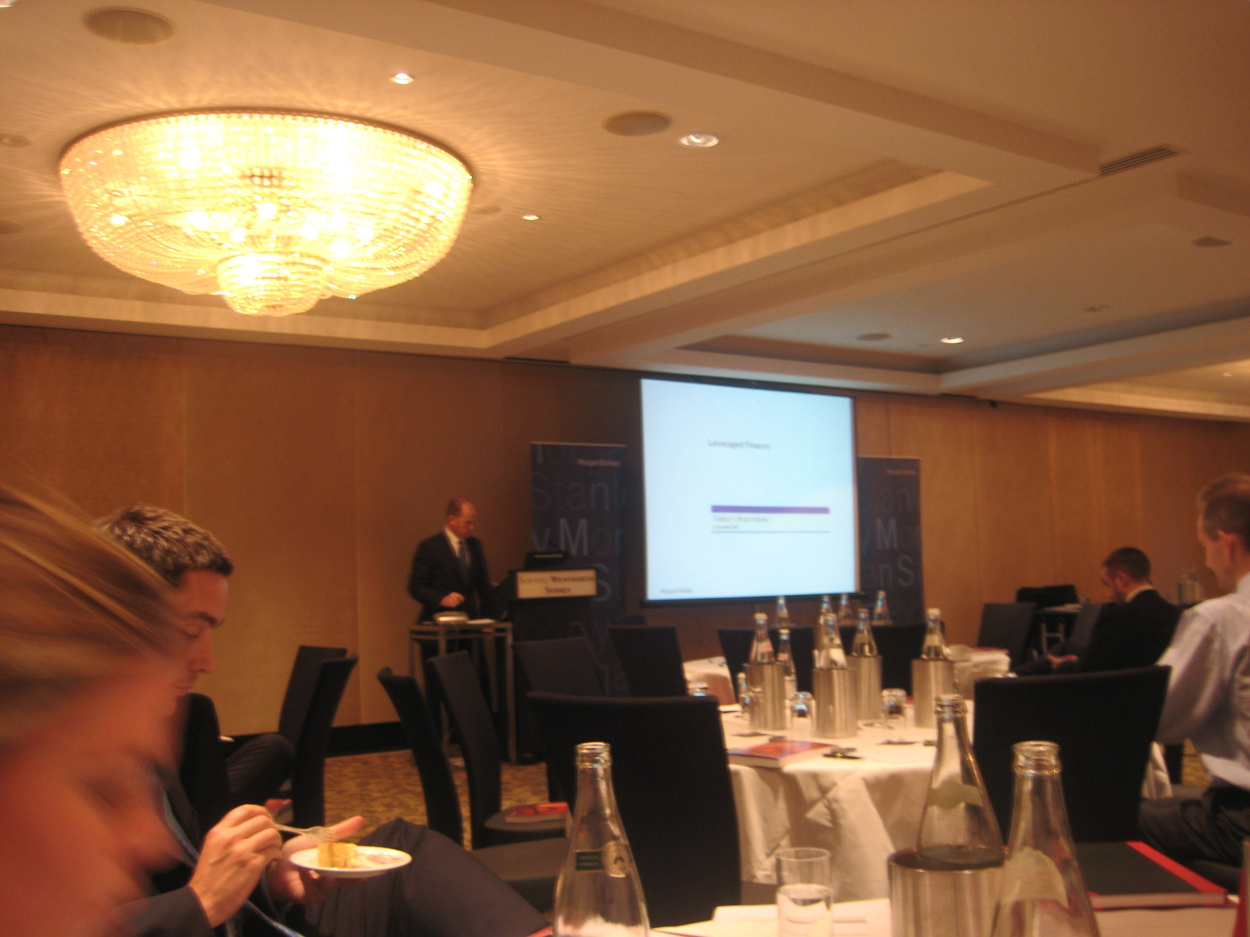 Charlie McGill presenting at a Morgan Stanley Private Equity conferfence
