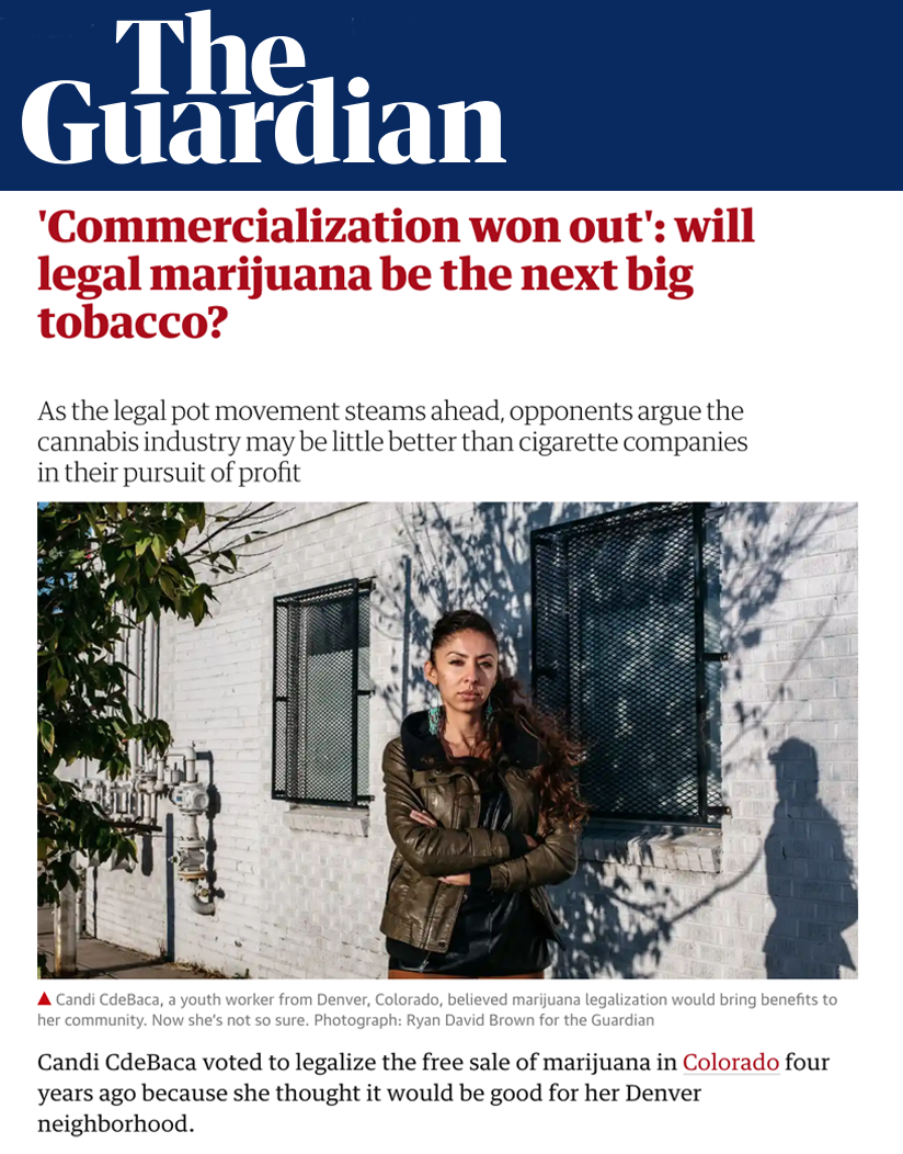 'Commercialization won out': will legal marijuana be the next big tobacco? - As the legal pot movement steams ahead, opponents argue the cannabis industry may be little better than cigarette companies in their pursuit of profit