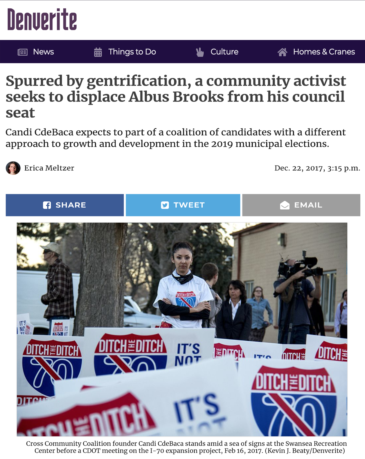Spurred by gentrification, a community activist seeks to displace Albus Brooks from his council seat - Candi CdeBaca expects to be a part of a coalition of candidates with a different approach to growth and development in the 2019 municipal elections.
