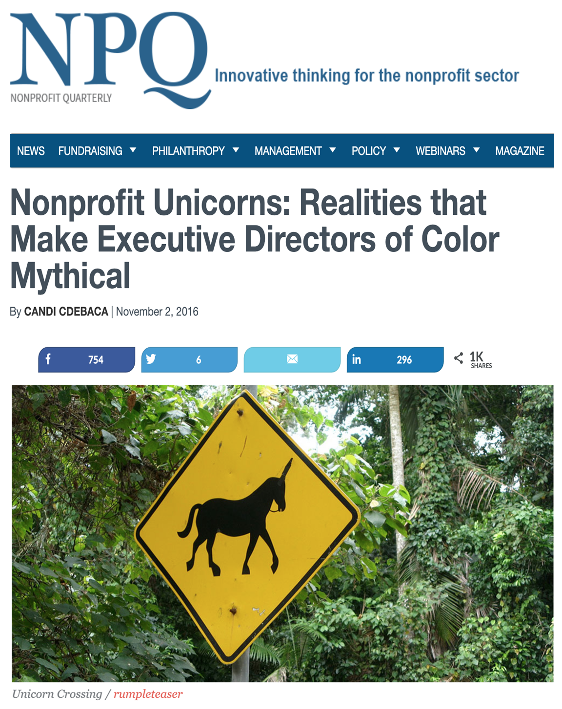 Nonprofit Unicorns: Realities that Make Executive Directors of Color Mythical -